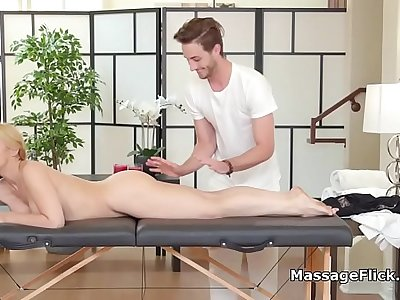 Horny housewife gags and rails lucky masseur