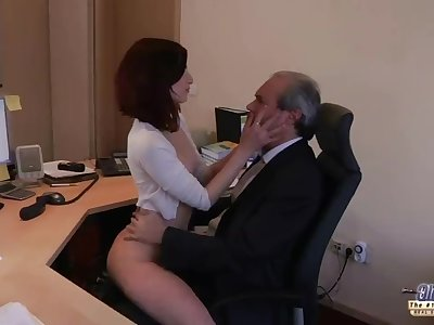 I am a young secretary seducing my boss at the office asking for hookup