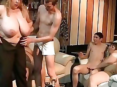 Big blondie rides and sucks cock at party